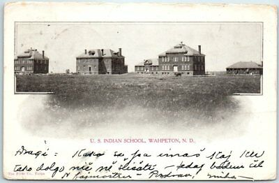 "Wahpeton, North Dakota Postcard ""U.S. INDIAN SCHOOL"" Building View 1908 Cancel"