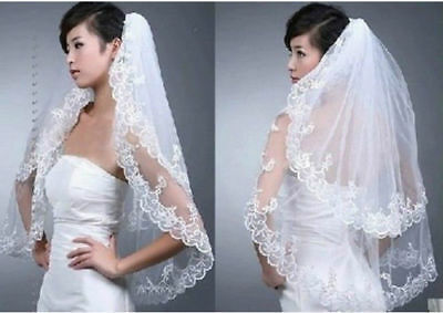 Lace veil new 2 layers, tulle lace short bridal veil - Wedding veil with comb el
