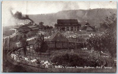 "1910s Rock Springs Amusement Park WV Postcard ""World's Greatest Scenic Railway"""