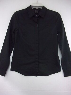 NWT Armani Exchange Womens Small Black Long Sleeve Hidden Button Front Blouse