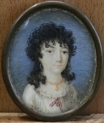18th CENTURY FRENCH MINIATURE WATERCOLOUR PORTRAIT GIRL WITH EARRINGS