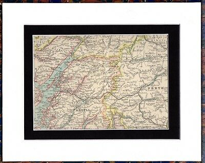Antique MAP ~ PERTH & ARGYLL & SURROUNDINGS Scotland ~ Double Mounted 1893