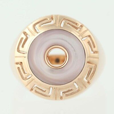 NEW Mother of Pearl Kabana Ring - 14k Rose Gold Size 6 3/4 - 7 Greek Key