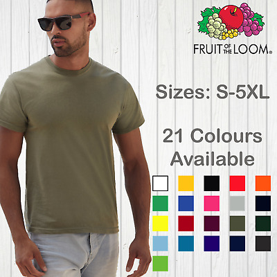 Fruit Of The Loom Mens T-Shirt Original T Plain Unisex Cotton Blank Tee Top