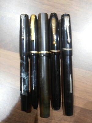 5 Vintage Gold Nibbed Fountain Pens for spares , repair