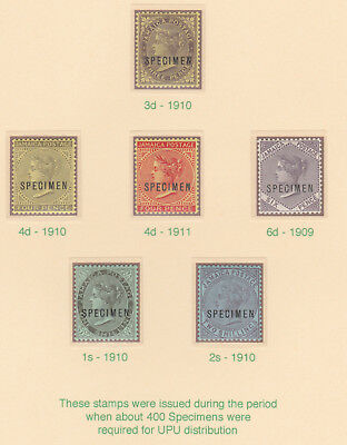 587  JAMAICA 1909-11 QV SPECIMEN set of 6 - only about 400 produced