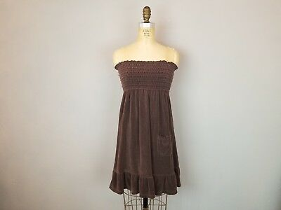 55a3fd71ba0 Juicy Couture Chocolate Terry Strapless Dress Swim Cover Up Womens Sz Medium