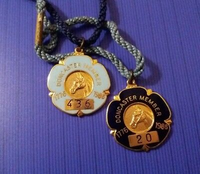 Pair of ANNUAL MEMBER'S BADGES ~  DONCASTER RACES 1986 - Gent & Lady