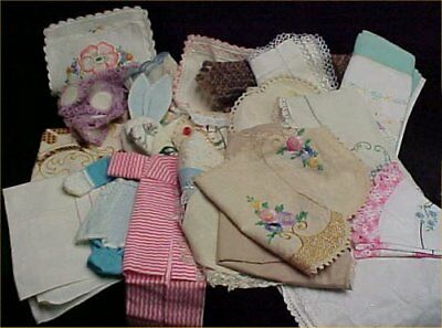 26 Vintage 40s Runner Doily Scarf Embroidery Linen Doily Cotton Craft LOT Estate