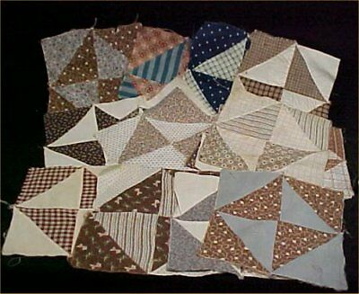17 Vintage Antique Quilt Blocks Cotton Fabric Victorian Hand Pieced Brown Blue +