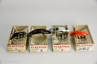 Helin Flatfish Antique Fishing Lure Lot of 4 New in Box with Papers GH160