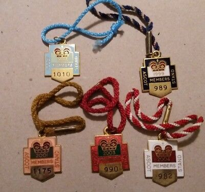 5 x ANNUAL MEMBER'S BADGES ~ ROYAL ASCOT ~ 1994, 1999, 2001, 2003, 2004