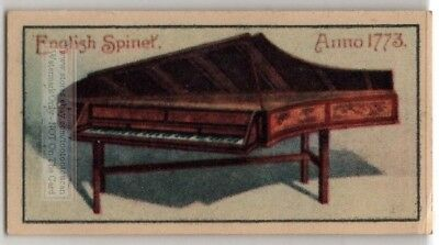 1773 English Spinet Harpsicord Piano Stringed Instrument Vintage Ad Trade Card