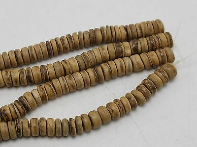 "2 Strands of 16"" Natural Coconut Rondelle Beads 8mm Jewelry making"