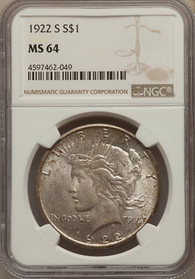 1922-S S$1 Peace Dollar, Mottled Toning, NGC MS 64