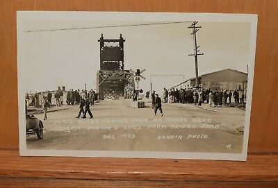 vintage 1933 RPPC postcard,flood kelso washington,rankin,bridge,rr tracks