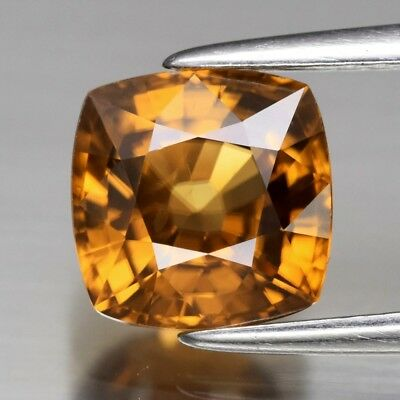 VVS 2.57ct 7mm Antique-Cut Natural Unheated Orange Zircon, Tanzania