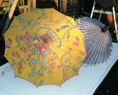 2 x ANTIQUE PARASOLS HAND PAINTED INDIAN SILK & FABRIC