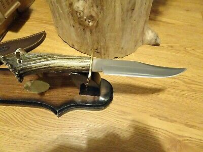 """Muela Cutlery 12"""" Overall Cazorla Bowie Knife Crown Stag Handle Stainless Clip B"""