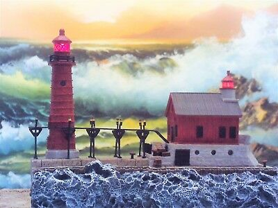 """Lighthouse  """"Grand Haven"""" Light - Michigan #450 - Harbour Lights 2004 - GLOW"""