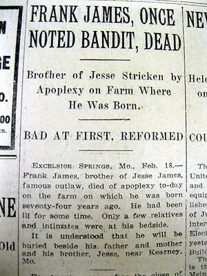 1915 newspaper WILD WEST OUTLAW FRANK JAMES DEAD Jesse James-Younger Gang leader