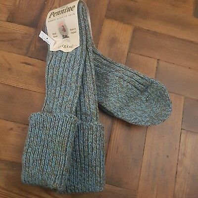 PENNINE Ribbed Wool Blend Knee High Boot Socks Size Medium 7-9 ENGLAND MADE BNWT