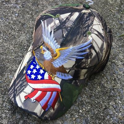 BALD EAGLE W/AMERICAN FLAG PATRIOTIC EMBROIDERED BASEBALL CAP HAT HT-4 CAMO t