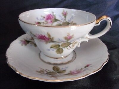Fine China of Japan ALADDIN Roses, TEA CUP & SAUCER, GOLD TRIM