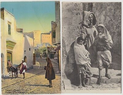 BRITISH POST OFFICE IN TANGIER 1918/21 2 post cards to ENGLAND