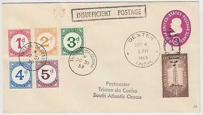 TRISTAN DA CUNHA 1959 incoming under-paid cover with multi franked POSTAGE DUES