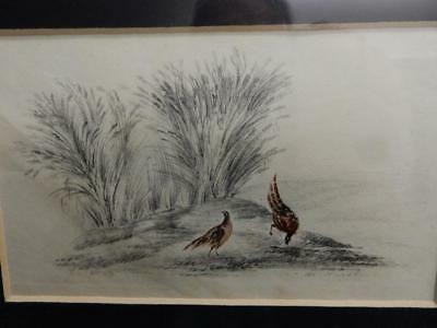 old picture painting  in frame countryside birds signed