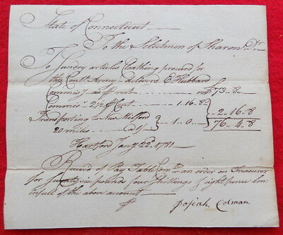 Revolutionary War 1781 Connecticut Document Clothing For Continental Army