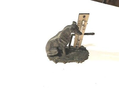 Antique 1900-20 Cold Painted Greyhound-Whippet  Dog Desk Thermometer Working