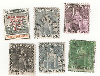 BARBADOS  BRITANNIA STAMPS TYPE 1 HALFPENNY GREEN 1/ black 1/ purple + OTHERS