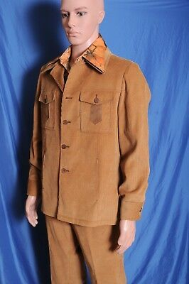VTG '70s Corduroy leisure suit 2 pc. with matching Norris disco shirt 42  35X29