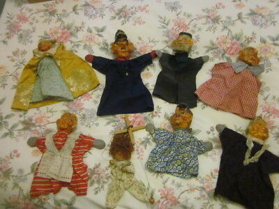 VINTAGE PAPIER MACHE GLOVE PUPPET COLLECTION X 7 + ONE ON STRINGS = lots of fun