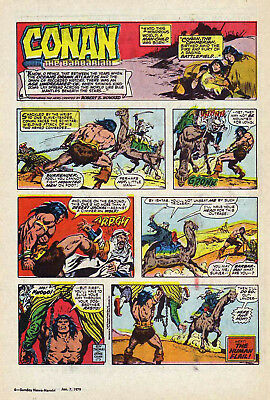 Conan the Barbarian by Roy Thomas - full page color Sunday comic - Jan. 7, 1979