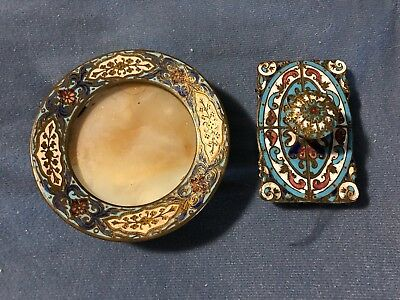 Antique Vintage French? Enamel  Ink Rocking  Blotter  & Footed Dish  *issue*