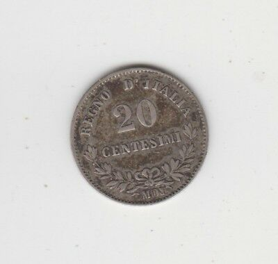 Coin 1863 Italy silver 20 centesimi issue with obverse upset 30 degrees