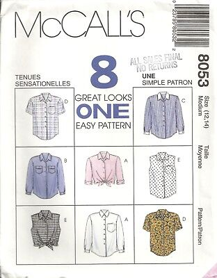 Mccalls 8053 Misses' Size 12-14 Shirts Sewing Pattern Vintage