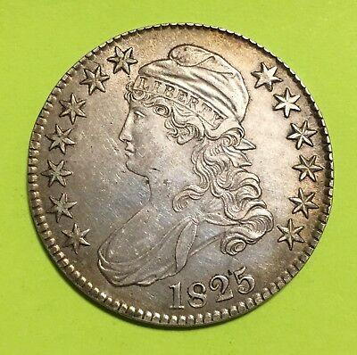 1825 Capped Bust Half Dollar, AU, Nicely Toned, SCARCE This Nice