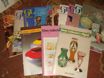 10 Vintage GLASS REVIEW Magazines + 3 Vintage GLASS COLLECTOR'S DIGEST Free Ship