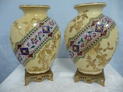 PAIR OF ANTIQUE FRENCH JAPONISME HEAVY ENAMEL VASES w/ASIAN STYLE BASES