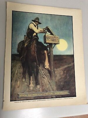 Famous Western Cowboy, Cream Of Wheat Color Ad. Rare