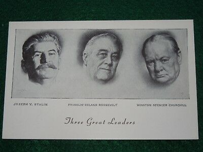 US WWII THREE GREAT LEADERS Stalin Roosevelt Churchill Patriotic Post Card