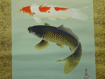 ME-029 Japanese Hanging Scroll Kakejiku Koi Fortune Carp Japan Vintage Antique