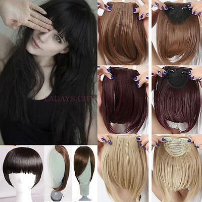 Lady Clip On In Front Hair Bang Fringe Hair Extension Straight Hair one piece JP