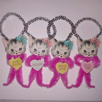 4 Vtg Style Chenille Valentine Ornaments Pink Kittens Cats  Conversation hearts
