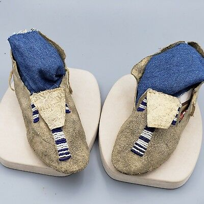 Native American Beaded Children's Moccasins, Old, Rare