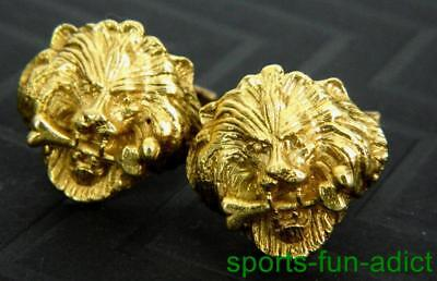 solid 18K Yellow Gold GREECE Roaring Lion w Bone Head Open Mouth Men's Cufflinks